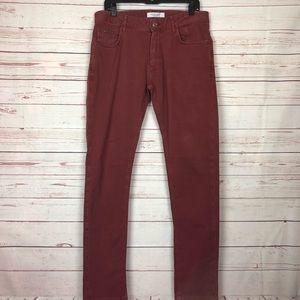 Zara Man Rust Color Straight Leg Jeans Size 32